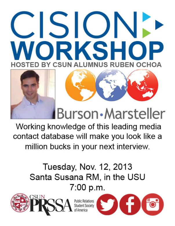 Cision Workshop with CSUN Alumnus Ruben Ochoa